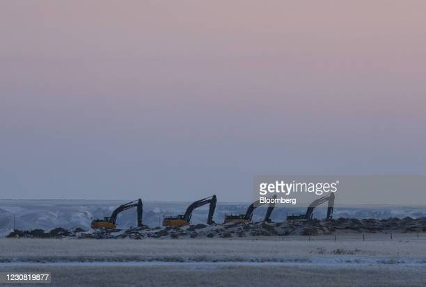Machinery along a right of way for the Keystone XL pipeline near Oyen, Alberta, Canada, on Wednesday, Jan. 27, 2021. U.S. President Joe Biden...