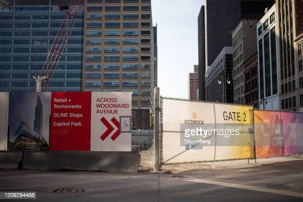 Machinery sits idle at Hudson's Site development as construction is halted in Detroit Michigan US on Saturday April 4 2020 Metro Detroit is expected...