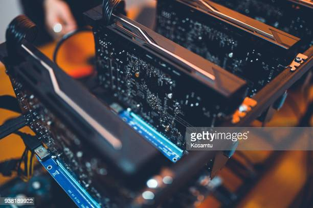 machinery used for crypto mining - cryptocurrency mining stock pictures, royalty-free photos & images