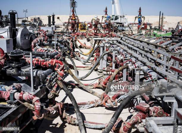 Machinery used to fracture shale formations stands at a Royal Dutch Shell Plc hydraulic fracking site near Mentone Texas US on Thursday March 2 2017...