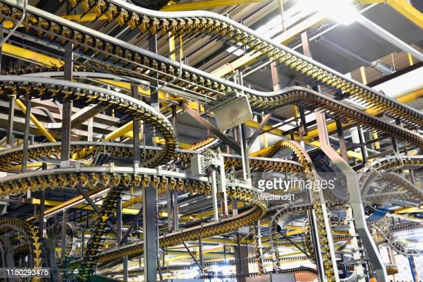 machines for transport in a printing shop - fließbandfertigung stock-fotos und bilder