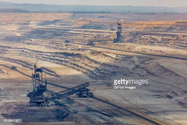 Machines in the open pit mining on May 01, 2021 in Niederzier, Germany.