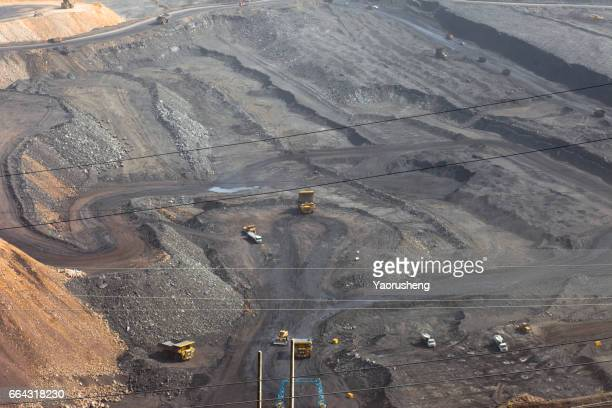Machines working in huge quarry,Pingshuo coal mining site,China