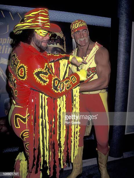 Macho Man Randy Savage and Hulk Hogan during 1996 NATPE Convention at Sands Convention Center in Las Vegas Nevada United States