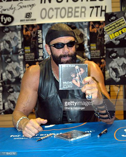 Macho Man Randy Savage during Macho Man Randy Savage In Store Apperance to Launch New CD Be A Man at FYE in New York City New York United States