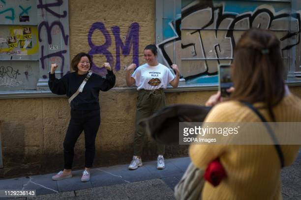 Macho women seen during the strike. Women demonstrated in the streets of San Sebastian during the general strike called on the International Women's...