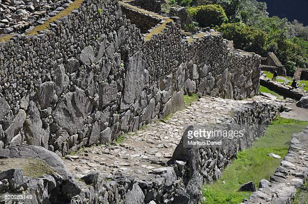 "machu picchu moat drainage channel - ""markus daniel"" stock pictures, royalty-free photos & images"