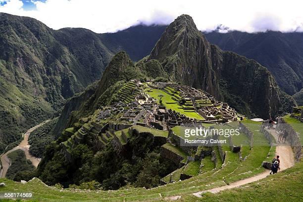 Machu Picchu, Urubamba River and tourists.