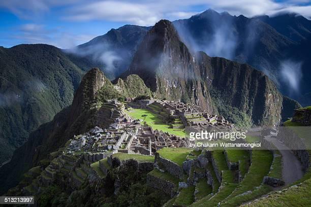 Machu Picchu with moving cloud