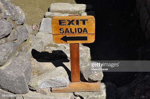 Machu Picchu Wood Exit Sign