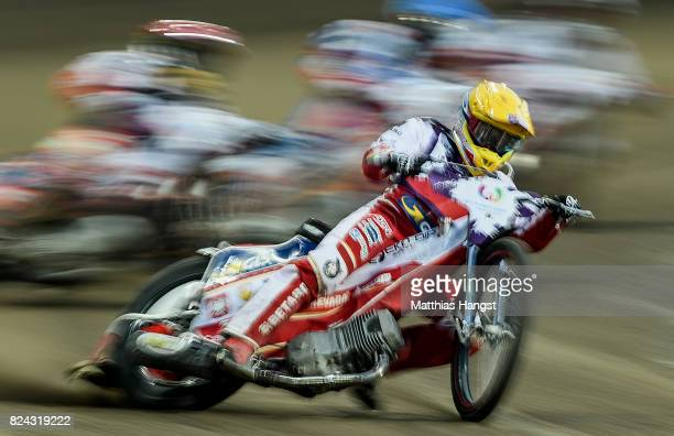 Maciej Janowksi of Poland competes during the Invitation Sports Speedway competition of The World Games at the Olympic Stadium on July 29 2017 in...