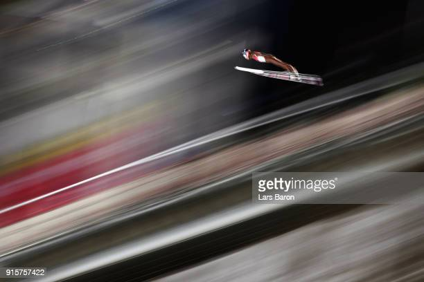 Maciej Kot of Poland competes in the Men's Normal Hill Individual Qualification at Alpensia Ski Jumping Centre on February 8 2018 in Pyeongchanggun...