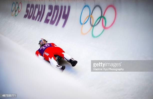 Maciej Kurowski of Poland takes part at the Luge Men's Singles Training session ahead of the Sochi 2014 Winter Olympics at the Sanki Sliding Center...