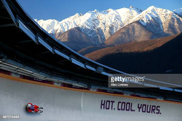 Maciej Kurowski of Poland takes part in a men's luge training session ahead of the Sochi 2014 Winter Olympics at the Sanki Sliding Center on February...