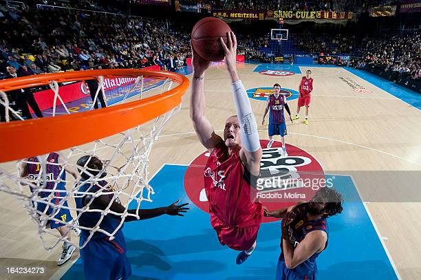 Maciej Lampe, #30 of Caja Laboral Vitoria in action during the 2012-2013 Turkish Airlines Euroleague Top 16 Date 12 between FC Barcelona Regal v Caja...