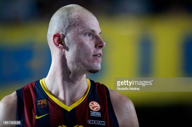 Maciej Lampe #30 of FC Barcelona in action during the 20132014 Turkish Airlines Euroleague Regular Season date 1 game between FC Barcelona Regal v...