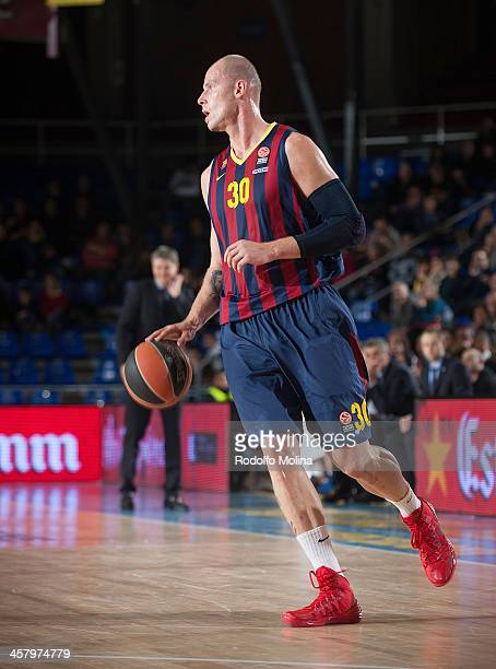 Maciej Lampe #30 of FC Barcelona in action during the 20132014 Turkish Airlines Euroleague Regular Season Date 10 game between FC Barcelona v...