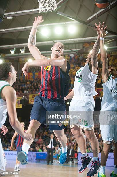 Maciej Lampe #30 of FC Barcelona in action during the 20142015 Turkish Airlines Euroleague Basketball Regular Season Date 5 game between FC Barcelona...