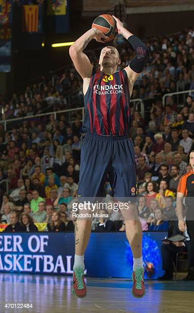 Maciej Lampe #30 of FC Barcelona in action during the 20142015 Turkish Airlines Euroleague Basketball Play Off Game 2 between FC Barcelona v...