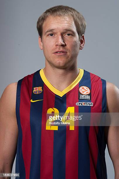 Maciej Lampe #30 of FC Barcelona poses during the FC Barcelona 2013/14 Turkish Airlines Euroleague Basketball Media Day at Palau Blaugrana on October...