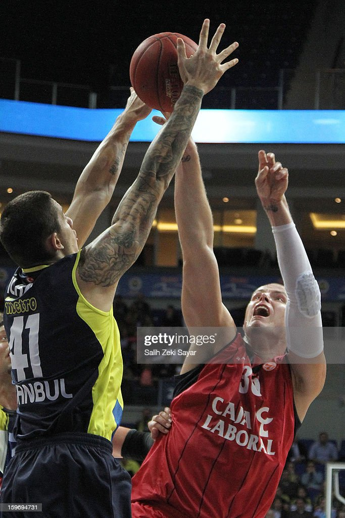 Maciej Lampe #30 of Caja Laboral in action during the 2012-2013 Turkish Airlines Euroleague Top 16 Date 4 between Fenerbahce Ulker Istanbul v Caja Laboral Vitoria at Fenerbahce Ulker Sports Arena on January 18, 2013 in Istanbul, Turkey.