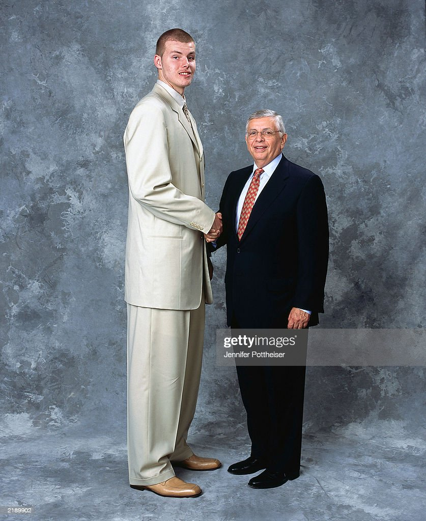 Maciej Lampe Poses For A Portrait With Commissioner David Stern On Draft  Night On June 26
