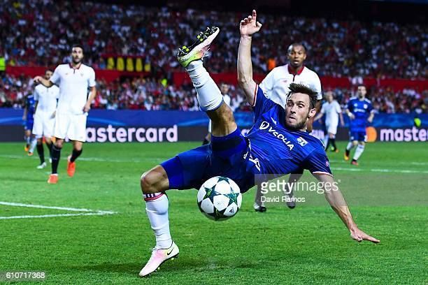 Maciej Rybus of Olympique Lyonnais misses a control during the UEFA Champions League Group H match between Sevilla FC and Olympique Lyonnais at the...