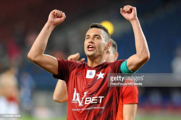 Maciej Sadlok reacts during Lotto Ekstraklasa match between Wisla Cracow and Miedz Legnica on July 27 2018 in Cracow Poland