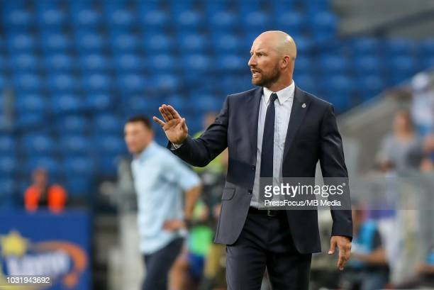 Maciej Stolarczyk head coach of Wisla Krakow reacts during Lotto Ekstraklasa match between Lech Poznan and Wisla Krakow on August 19 2018 in Poznan...
