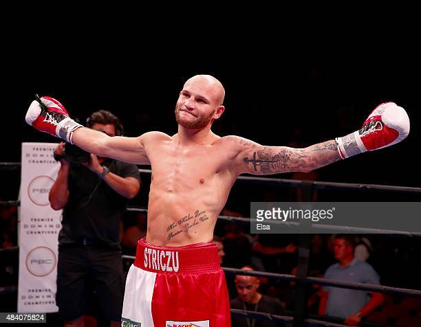 Maciej Sulecki celebrates his TKO of Jose Rodriguez during the Premier Boxing Champions Middleweight bout at the Prudential Center on August 14, 2015...