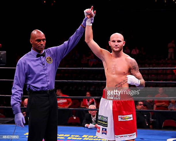 Maciej Sulecki is delcared the winner over Jose Rodriguez during the Premier Boxing Champions Middleweight bout at the Prudential Center on August...