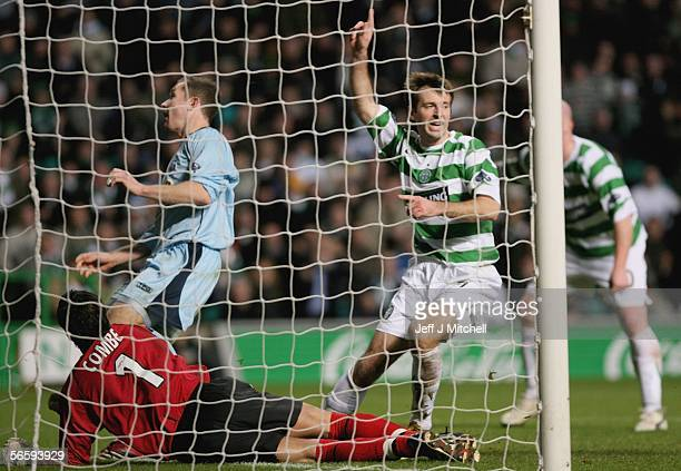 Maciej Zurawski of Celtic celebrates after scoring during the Scottish Premier league soccer match against Kilmarnock at Celtic Park January 14...