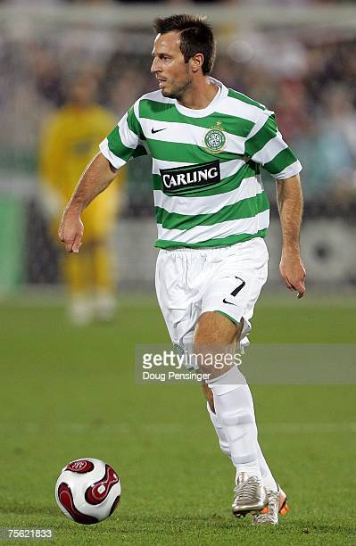 Maciej Zurawski of Glasgow Celtic FC looks to play the ball to the middle of the field during the 2007 Sierra Mist MLS All-Star Game at Dick's...