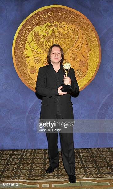 Maciek Malish MPSE holds his Golden Reel Award for Best Sound Editing Short Form Dialogue And ADR In Television Lost Confirmed Dead at the 56th...