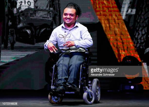 Maciel Santos paralympic athlete poses for photo after winning the best boccia athlete during the Brazil Paralympics Awards Ceremony 2018 at...
