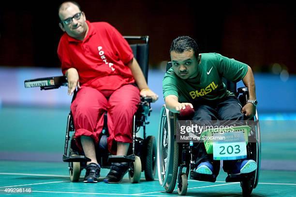 Maciel Sousa Santos competes in the Bocce competition during the International Boccia Tournament Aquece Rio Test Event for the Rio 2016 Paralympics...