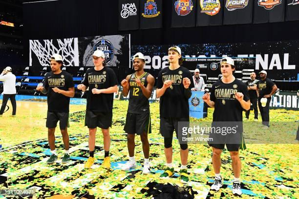 MaCio Teague, Jackson Moffatt, Jared Butler, Matthew Mayer, and Mark Paterson of the Baylor Bears celebrate after defeating the Gonzaga Bulldogs in...