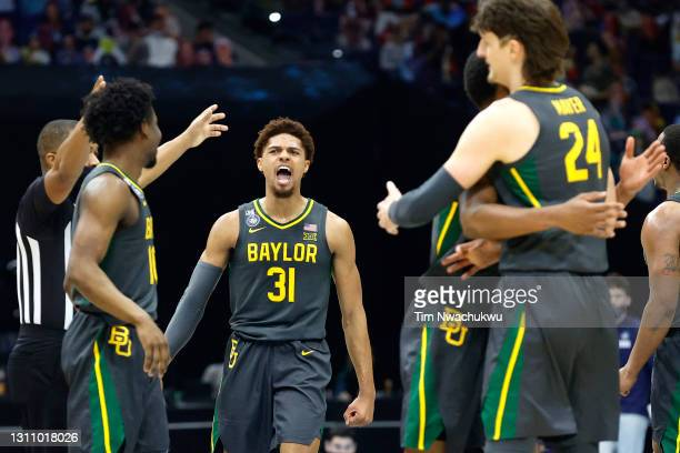MaCio Teague of the Baylor Bears reacts in the second half of the National Championship game of the 2021 NCAA Men's Basketball Tournament against the...