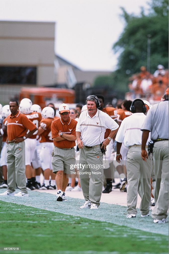 Mack Brown of the Texas Longhorns looks on against the North Carolina Tar Heels on September 8, 2001.