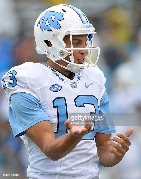 Mack Hollins of the North Carolina Tar Heels against the Delaware Fightin Blue Hens during their game at Kenan Stadium on September 26 2015 in Chapel...