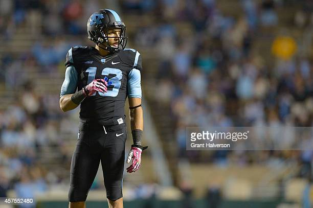 Mack Hollins of the North Carolina Tar Heels against the Georgia Tech Yellow Jackets during their game at Kenan Stadium on October 18 2014 in Chapel...