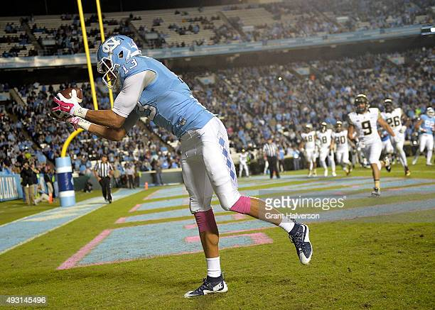 Mack Hollins of the North Carolina Tar Heels catches a bobbled ball for a touchdown against the Wake Forest Demon Deacons during their game at Kenan...