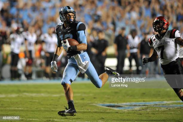 Mack Hollins of the North Carolina Tar Heels catches a pass for a 96yard touchdown during their game against the San Diego State Aztecs on September...