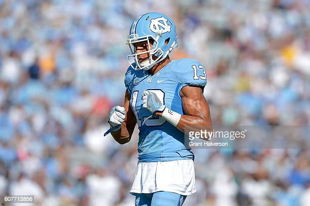 Mack Hollins of the North Carolina Tar Heels in action against the James Madison Dukes during the game at Kenan Stadium on September 17 2016 in...