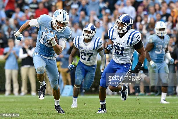 Mack Hollins of the North Carolina Tar Heels makes a catch against the Duke Blue Devils during their game at Kenan Stadium on November 7 2015 in...