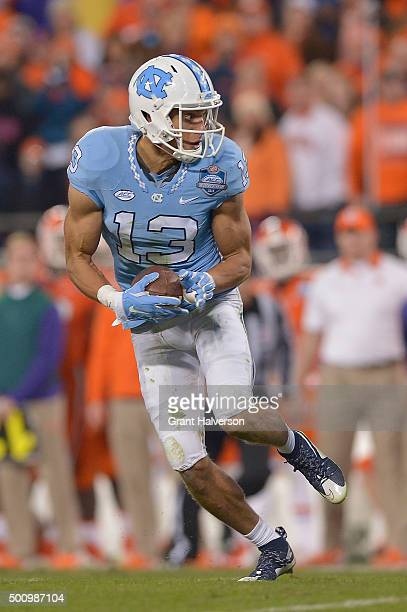 Mack Hollins of the North Carolina Tar Heels makes a catch against the Clemson Tigers during the Atlantic Coast Conference Football Championship at...