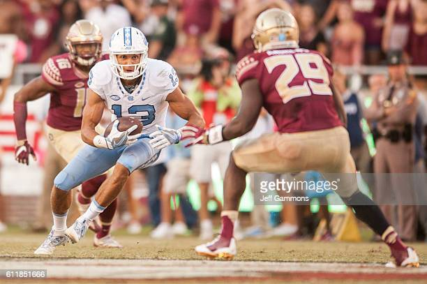 Mack Hollins of the North Carolina Tar Heels makes a run during the game against the Florida State Seminoles at Doak Campbell Stadium on October 1...