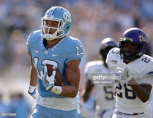 Mack Hollins of the North Carolina Tar Heels makes a touchdown reception against the James Madison Dukes during the game at Kenan Stadium on...