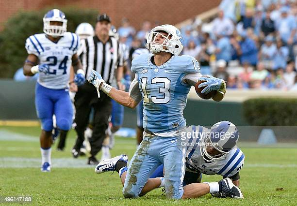 Mack Hollins of the North Carolina Tar Heels reacts after making a first down catch against the Duke Blue Devils during their game at Kenan Stadium...