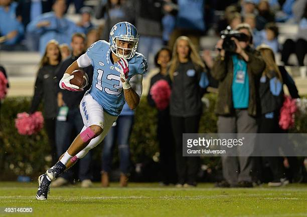Mack Hollins of the North Carolina Tar Heels scores a touchdown against the Wake Forest Demon Deacons during their game at Kenan Stadium on October...